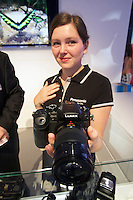 Photokina in Cologne ist the World's biggest bi-annual photo fair..Panasonic stand. Lumix GH3 with the new 35-100/2.8 lens.
