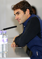 Roger Federer of Switzerland speaks to the press at Media Day before the start of the ATP World Tour Finals, The O2, London, 2015