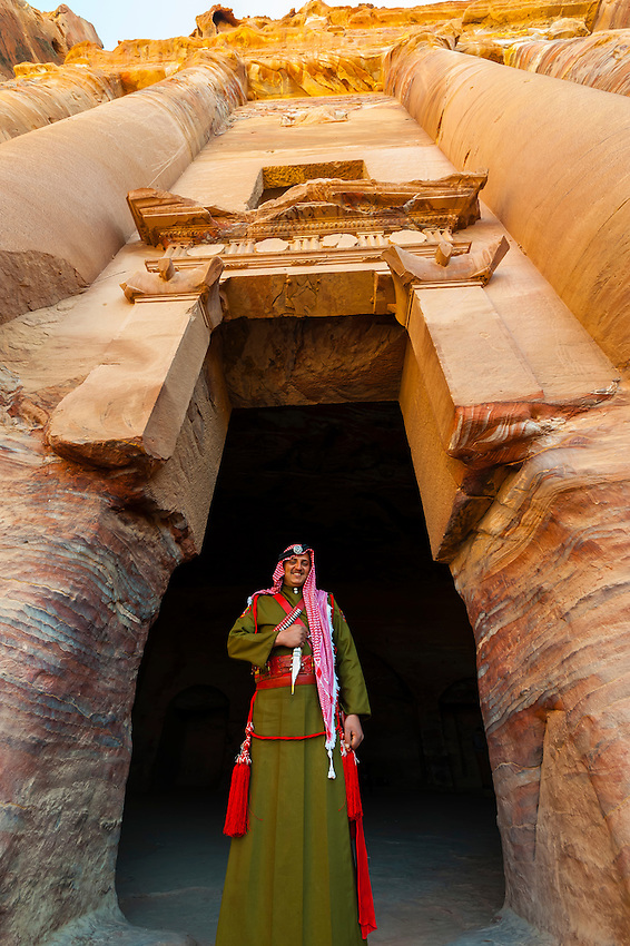 A Bedouin Desert Patrol policeman at the Royal Tombs at Petra archaeological site (a UNESCO World Heritage site), Jordan.
