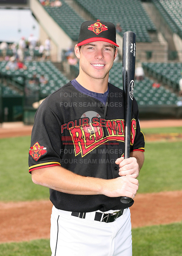 2007:  Trent Oeltjen of the Rochester Red Wings, Class-AAA affiliate of the Minnesota Twins, during the International League baseball season.  Photo By Mike Janes/Four Seam Images