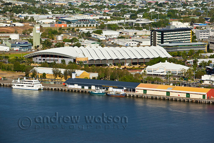 Aerial view of Cairns Cruise Liner Terminal and Convention Centre.  Cairns, Queensland, Australia