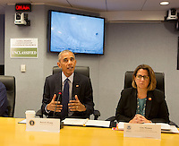 United States President Barack Obama makes a statement after receiving a briefing on Hurricane Matthew at the Federal Emergency Management Agency (FEMA) in Washington DC, October 5, 2016. Seated (right) is Lisa Monaco, U.S. Homeland Security Advisor to President Obama. <br /> Credit: Chris Kleponis / Pool via CNP /MediaPunch