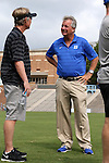 24 August 2014: Duke head coach Robbie Church (right) with Stanford head coach Paul Ratcliffe (left). The Duke University Blue Devils played the Stanford University Cardinal at Fetzer Field in Chapel Hill, NC in a 2014 NCAA Division I Women's Soccer match. Stanford won the game 2-0.