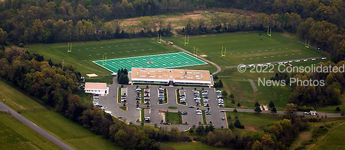 Ashburn, VA - April 21, 2006 -- Aerial view of Redskin Park in Ashburn, Virginia on April 21, 2006.  Redskin Park has one artificial turf and 3 regular turf practice fields.  The National Football League's (NFL) Washington Redskins maintain their corporate offices and practice facilities at the park..Credit: Ron Sachs / CNP