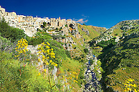 "The  ""la Gravina"" ravine that runs around Matera, Southern Italy"