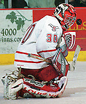 University of Nebraska at Omaha goalie Dan Ellis.<br /> (photo by Chris Machian/Prairie PIxel Group)