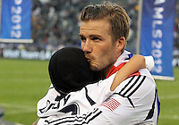 CARSON, CA - DECEMBER 01, 2012:   David Beckham (23) of the Los Angeles Galaxy with his son after beating the Houston Dynamo during the 2012 MLS Cup at the Home Depot Center, in Carson, California on December 01, 2012. The Galaxy won 3-1.