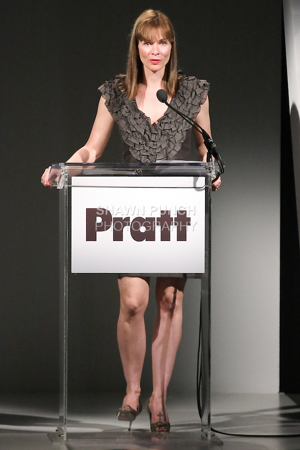 Linda DeFranco, Director of Products and Analysis for Cotton Incorporated, speaks at the Pratt 2011 fashion show, honoring Hamish Bowles, April 27 2011.
