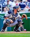 29 May 2011: San Diego Padres catcher Rob Johnson in action against the Washington Nationals at Nationals Park in Washington, District of Columbia. The Padres defeated the Nationals 5-4 to take the rubber match of their 3-game series. Mandatory Credit: Ed Wolfstein Photo