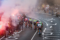 the breakaway group up the smoke &amp; tifosi-packed Capo Berta (38 km's before the finish)<br /> <br /> 108th Milano - Sanremo 2017