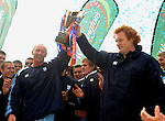 Paul Tito and Gareth Thomas hold the EDF Trophy up. Cardiff Blues V Edinburgh, Magners League. © Ian Cook IJC Photography, 07599826381,  iancook@ijcphotography.co.uk, www.ijcphotography.co.uk