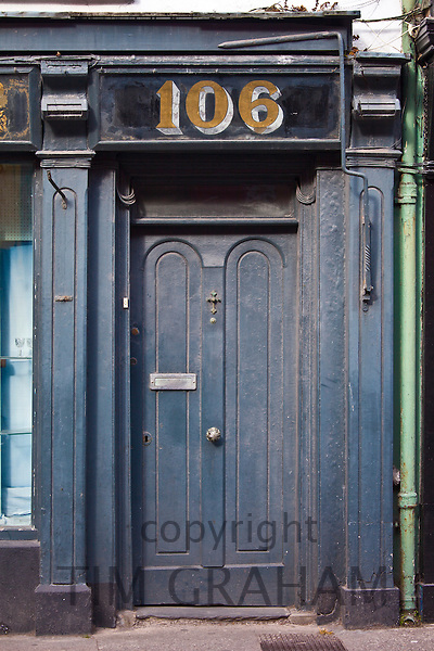 Faded elegant old doorway in Youghal, County Cork, Southern Ireland