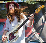 Grouplove bassist Sean Gadd performs at the KROQ Weenie Roast y Fiesta Saturday in Irvine, CA.