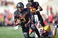 College Park, MD - OCT 15, 2016: Maryland Terrapins quarterback Tyrrell Pigrome (3) avoids a tackle by Minnesota Golden Gophers linebacker Carter Coughlin (45) during game between Maryland and Minnesota at Capital One Field at Maryland Stadium in College Park, MD. (Photo by Phil Peters/Media Images International)