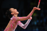 "YEON SON of Korea performs in Event Finals at 2011 World Cup Kiev, ""Deriugina Cup"" in Kiev, Ukraine on May 8, 2011."