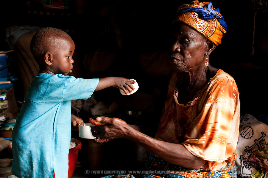 Mariama Mumuni, 85, is a resident of the Kpatinga camp for alleged witches. Her son lives in the town nearby, but her her two year-old grandson Yakubu Baba lives with her.