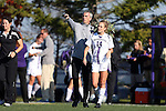 21 October 2012: Northwestern head coach Michael Moynihan with Sami Schrakamp (14). The Northwestern University Wildcats played the University of Iowa Hawkeyes at Lakeside Field in Evanston, Illinois in a 2012 NCAA Division I Women's Soccer game. Northwestern won the game 1-0.