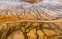 The intimate details near Grand Prismatic Spring in Yellowstone National Park are endless.  Years of mineral deposits create detailed lines and cracks throughout the area.