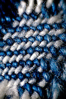 INDIGO DYE IN COTTON DENIM FIBERS<br /> Close-up of denim fiber
