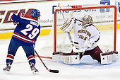 Derek Arnold (UML - 29), Parker Milner (BC - 35) - The Boston College Eagles defeated the visiting University of Massachusetts Lowell River Hawks 6-3 on Sunday, October 28, 2012, at Kelley Rink in Conte Forum in Chestnut Hill, Massachusetts.