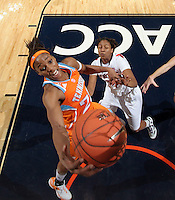 CHARLOTTESVILLE, VA- NOVEMBER 20: Glory Johnson #25 of the Tennessee Lady Volunteers shoots over Telia McCall #30 of the Virginia Cavaliers during the game on November 20, 2011 at the John Paul Jones Arena in Charlottesville, Virginia. Virginia defeated Tennessee in overtime 69-64. (Photo by Andrew Shurtleff/Getty Images) *** Local Caption *** Glory Johnson;Telia McCall