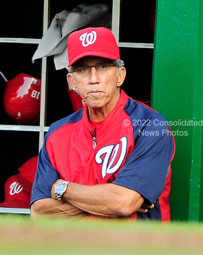 Washington Nationals manager Davey Johnson watches first inning action against the New York Mets at Nationals Park in Washington, D.C. on Saturday, July 30, 2011.  .Credit: Ron Sachs / CNP.(RESTRICTION: NO New York or New Jersey Newspapers or newspapers within a 75 mile radius of New York City)