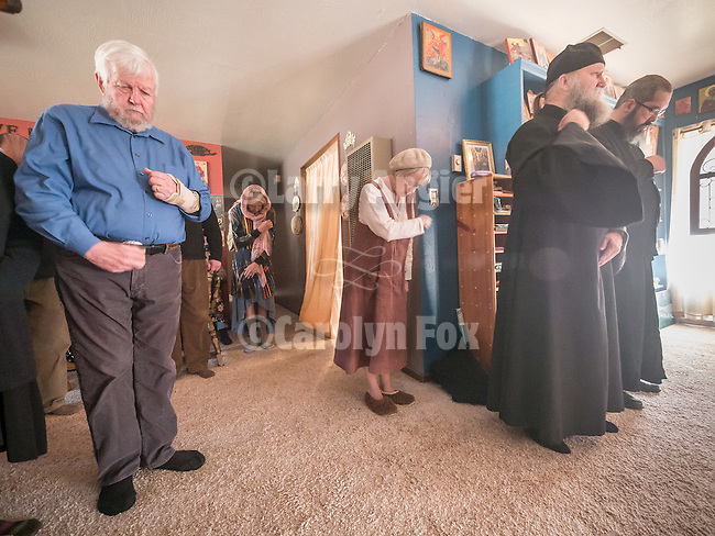 The faithful witness the First Monastic Liturgy, St. Silhouan Monastery, Columbia, California.