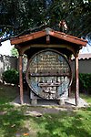 Antique wine barrel built in 1900  at Grapevine Park in the mission district of San Gabriel, CA