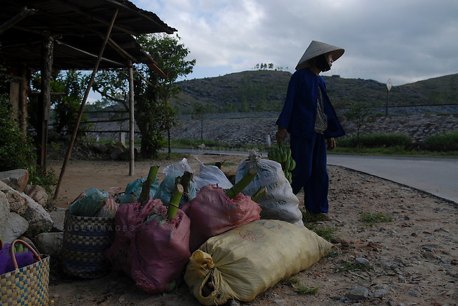 A woman waits for a bus to take her home with supplies outside of Ho Chi Minh City, Vietnam.