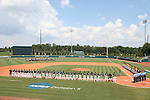 04 June 2016: The players and umpires line up during the playing of the national anthem. The Nova Southeastern University Sharks played the Millersville University Marauders in Game 14 of the 2016 NCAA Division II College World Series  at Coleman Field at the USA Baseball National Training Complex in Cary, North Carolina. Nova Southeastern won the game 8-6 and clinched the NCAA Division II Baseball Championship.