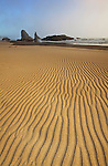 Clearing fog reveals wind-swept patterns in the sand on the beach at Bandon, Oregon, USA