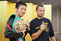 (L to R) Takahiro Aoh (JPN),  Devis Boschiero (ITA), NOVEMBER 4, 2011 - Boxing : Takahiro Aoh and Devis Boschiero pose during a signing ceremony for WBC Super Feather weight title bout in Tokyo, Japan. (Photo by Yusuke Nakanishi/AFLO SPORT) [1090]