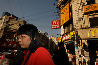 Street scenes on East Nanjing Road intersection in Shanghai.