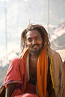 Ascetic with tilak on his forehead is sitting on the bank of River Ganga in Varanasi.<br /> (Photo by Matt Considine - Images of Asia Collection)