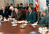 "United States President Ronald Reagan meets with a bi-partisan group of Congressional leaders in the Cabinet Room of the White House in Washington, D.C. on Friday, January 4, 1985.  From left are: United States House Minority Leader Robert Michel (Republican of Illinois); Speaker of the United States House of Representatives Thomas P. ""Tip"" O'Neill (Democrat of Massachusetts); The President; United States Senate Majority Leader Robert Dole (Republican of Kansas); and United States Senate Minority Leader Robert Byrd (Democrat of West Virginia)..Mandatory Credit: Bill Fitz-Patrick - White House via CNP"