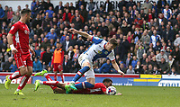 Blackburn Rovers' Sam Gallagher is denied a penalty as he falls from this challenge from Bristol City's Korey Smith (grounded)<br /> <br /> Photographer Stephen White/CameraSport<br /> <br /> The EFL Sky Bet Championship - Blackburn Rovers v Bristol City - Monday 17th April 2017 - Ewood Park - Blackburn<br /> <br /> World Copyright &copy; 2017 CameraSport. All rights reserved. 43 Linden Ave. Countesthorpe. Leicester. England. LE8 5PG - Tel: +44 (0) 116 277 4147 - admin@camerasport.com - www.camerasport.com