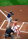 31 March 2011: Atlanta Braves outfielder Martin Prado in Opening Day action against the Washington Nationals at Nationals Park in Washington, District of Columbia. The Braves shut out the Nationals 2-0 to start off the 2011 Major League Baseball season. Mandatory Credit: Ed Wolfstein Photo