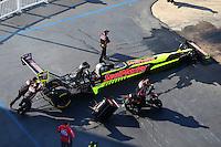 Jun 17, 2016; Bristol, TN, USA; Crew members with NHRA top fuel driver J.R. Todd during qualifying for the Thunder Valley Nationals at Bristol Dragway. Mandatory Credit: Mark J. Rebilas-USA TODAY Sports