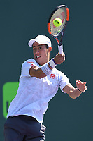 KEY BISCAYNE, FL - MARCH 22 : Kei Nishikori is sighted on the practice court during the Miami Open at Crandon Park Tennis Center on March 22, 2017 in Key Biscayne, Florida. Credit: mpi04/MediaPunch