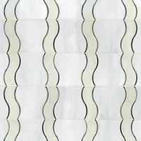 Danube, a waterjet jewel glass mosaic, shown in glass Moonstone, Quartz, Chalcedony.