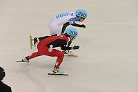 OLYMPICS: SOCHI: Iceberg Skating Palace, 13-02-2014, Shorttrack, 5000m Relay Men, Semifinals, Victor An (#250 | RUS), Tianyu Han (#209 | CHN), ©photo Martin de Jong