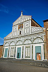 The Romanesque marble facade &amp; mosaic begun in about 1090 of San Miniato al Monte (St. Minias on the Mountain) basilica , Florence, Italy.