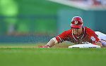 19 September 2012: Washington Nationals rookie outfielder Bryce Harper slides safely into third with a triple in the 5th inning against the Los Angeles Dodgers at Nationals Park in Washington, DC. The Nationals defeated the Dodgers 3-1 in the first game of their double-header. Mandatory Credit: Ed Wolfstein Photo