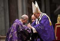 Pope Benedict XVI Cardinal Tarcisio Bertone leads the mass for Ash Wednesday, opening Lent, the forty-day period of abstinence and deprivation for the Christians, before the Holy Week and Easter, on February 13, 2013