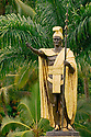Statue of King Kamehameha I in Wailoa State Park, Hilo, Island of Hawaii.