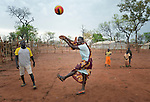 Children play volleyball in one of several child friendly spaces run by the Lutheran World Federation, a member of the ACT Alliance, in the Ajuong Thok Refugee Camp in South Sudan. The camp, in northern Unity State, hosts thousands of refugees from the Nuba Mountains, located across the nearby border with Sudan.