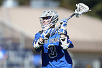 08 February 2015: Air Force's James Burke. The Duke University Blue Devils hosted the United States Air Force Academy Falcons at Koskinen Stadium in Durham, North Carolina in a 2015 NCAA Division I Men's Lacrosse match. Duke won the game 13-7.