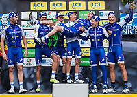 Picture by Alex Broadway/SWpix.com - 12/03/17 - Cycling - 2017 Paris Nice - Stage Eight - Nice to Nice - The Quick-Step Floors team celebrate on the podium after winning the overall Team Classification. Julian Alaphilippe, Dan Martin
