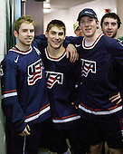 Dave Warsofsky (USA - 5), Ryan Bourque (USA - 17), Danny Kristo (USA - 8), Kyle Palmieri (USA - 23) - Team USA defeated Team Finland 6-2 on Saturday, January 2, 2010, at Credit Union Centre in Saskatoon, Saskatchewan during the 2010 World Juniors quarterfinals.