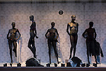 Undressed female mannequins, awaiting latest clothing show body forms and proportions in a central London street.